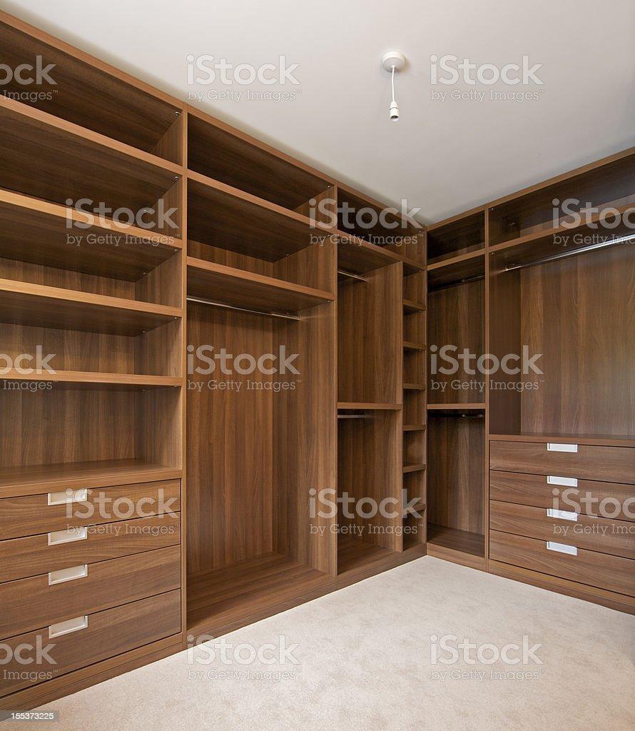 empty walk in wardrobe royalty-free stock photo