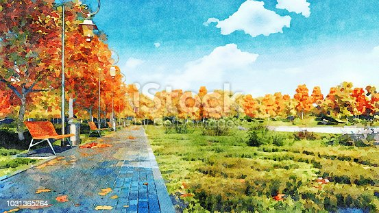 istock Empty walkway in autumn park watercolor landscape 1031365264