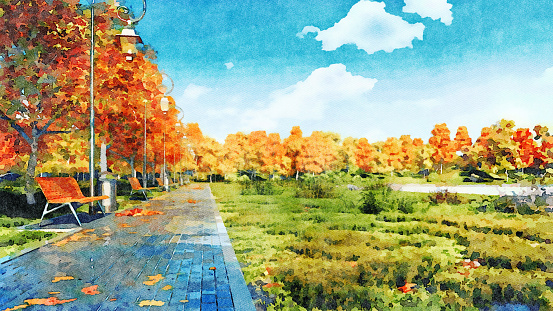 istock Empty walkway in autumn park watercolor landscape 1031365264