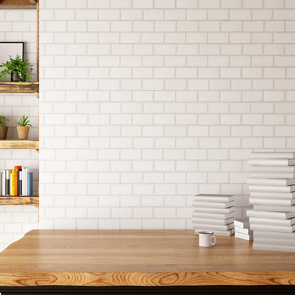 Empty Wall and Desk with Books and Shelf. 3d Render