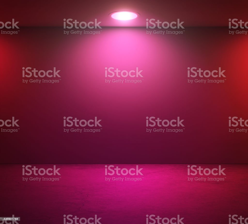 Empty wall and pink spotlight in room stock photo