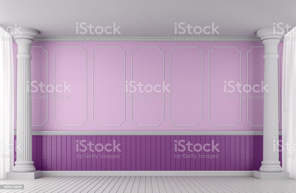 Empty wall classic style 3d rendering image stock photo