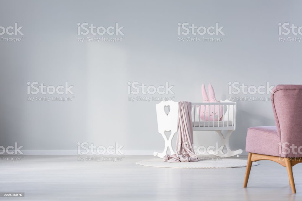 Empty wall in baby's room stock photo