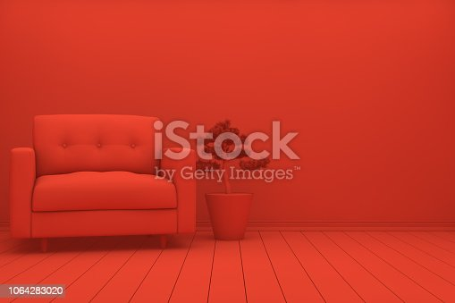 1095381860 istock photo Empty Wall in Red Living Room 1064283020