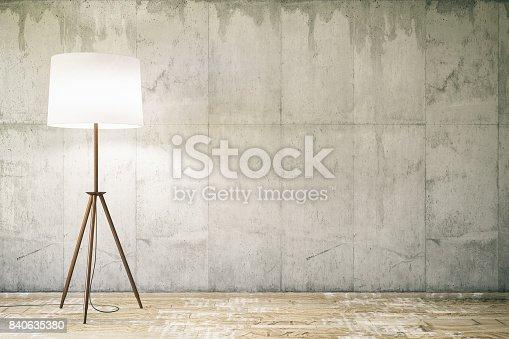840777964istockphoto Empty wall with Floor Lamp 840635380