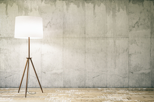 Empty wall with Floor Lamp