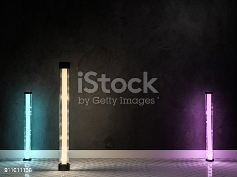 istock Empty wall with lamps. 3D 911611136