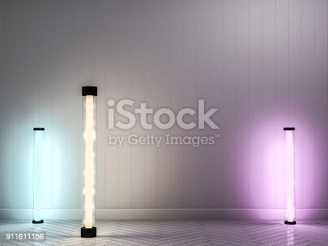 istock Empty wall with lamps. 3D 911611156