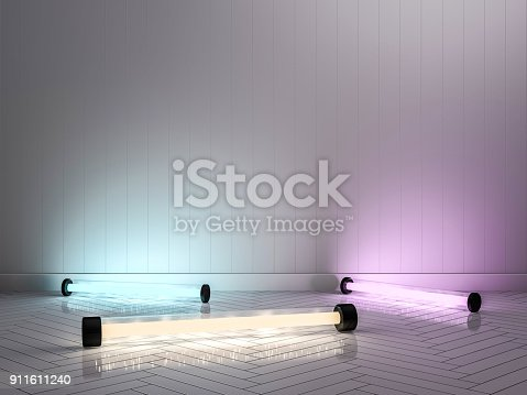 istock Empty wall with lamps. 3D 911611240
