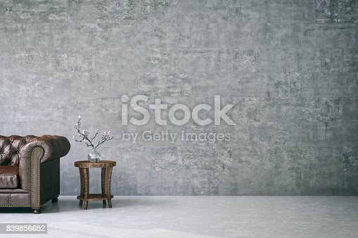 840777964istockphoto Empty wall with Leather Sofa 839856652