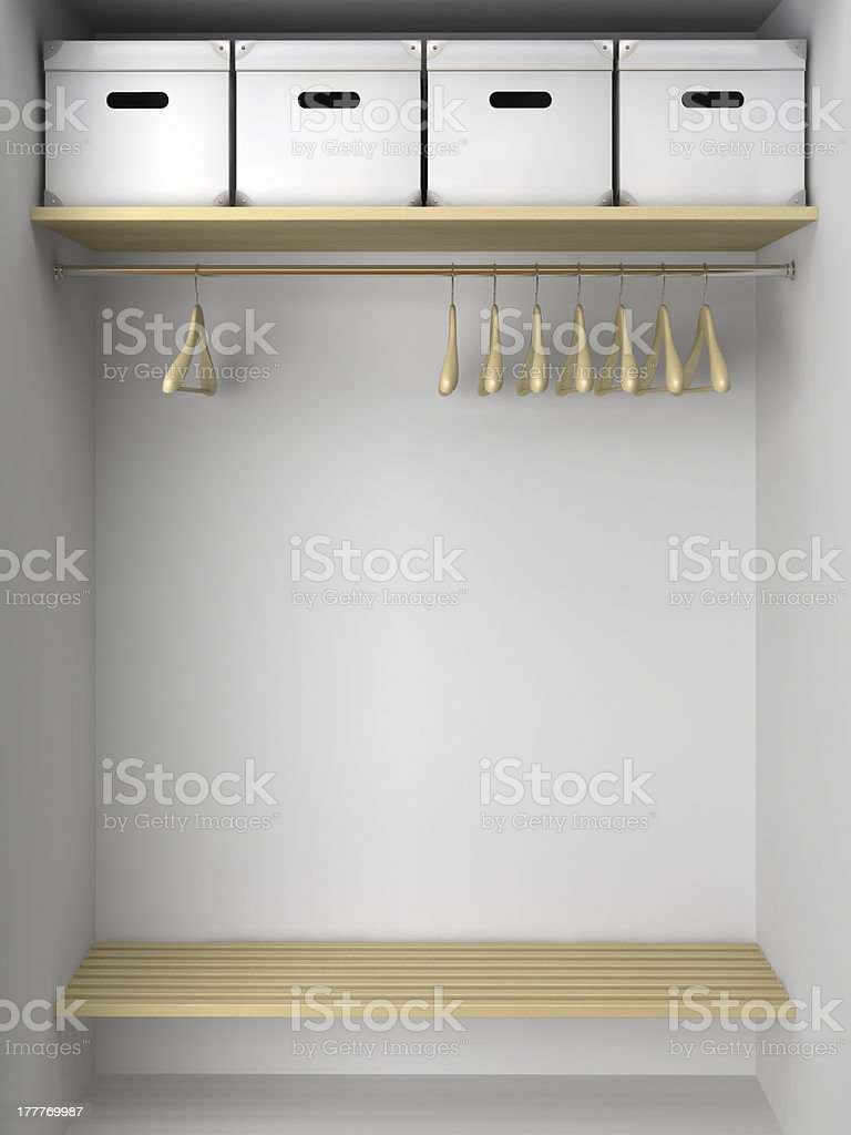 Empty Wardrobe With Hangers And Boxes Stock Photo