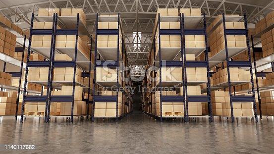 Empty warehouse. 3D Render