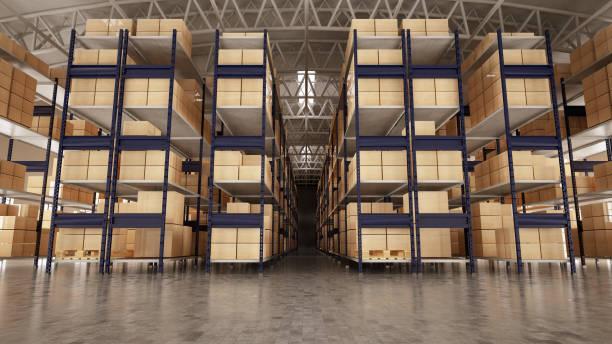 Empty Warehouse Full of Cargo stock photo