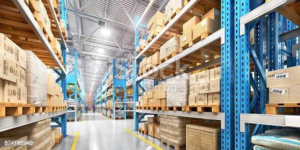 istock Empty warehouse full of cargo 874165940