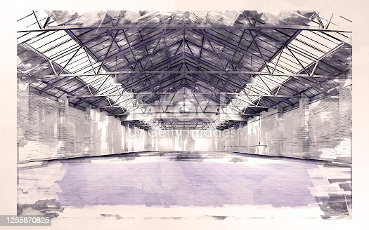 Empty warehouse interior illuminated by spotlights and natural light from roof windows.  Sketch effect applied on 3D rendered image.