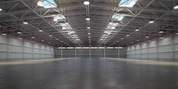 Empty warehouse interior. Storehouse building or storage room. stock photo