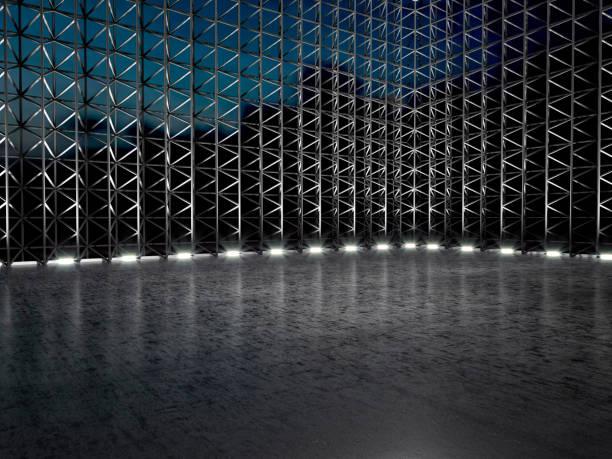 illustration 3d du stade moderne échafaudage entrepôt vide - show room photos et images de collection