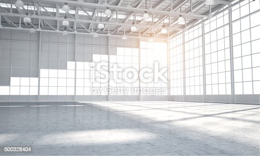 istock Empty warehouse showroom 500328404