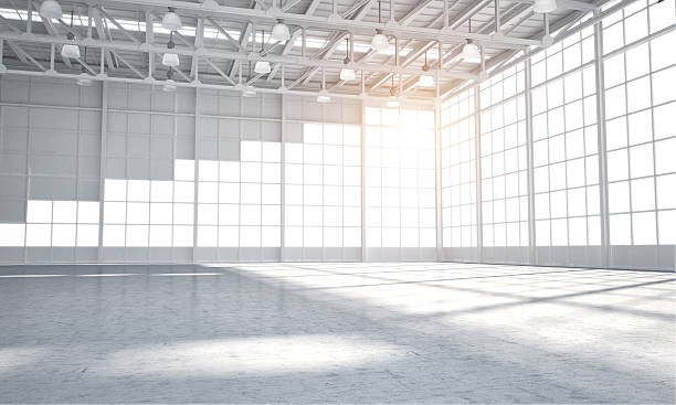 empty warehouse showroom - auto interieur stockfoto's en -beelden