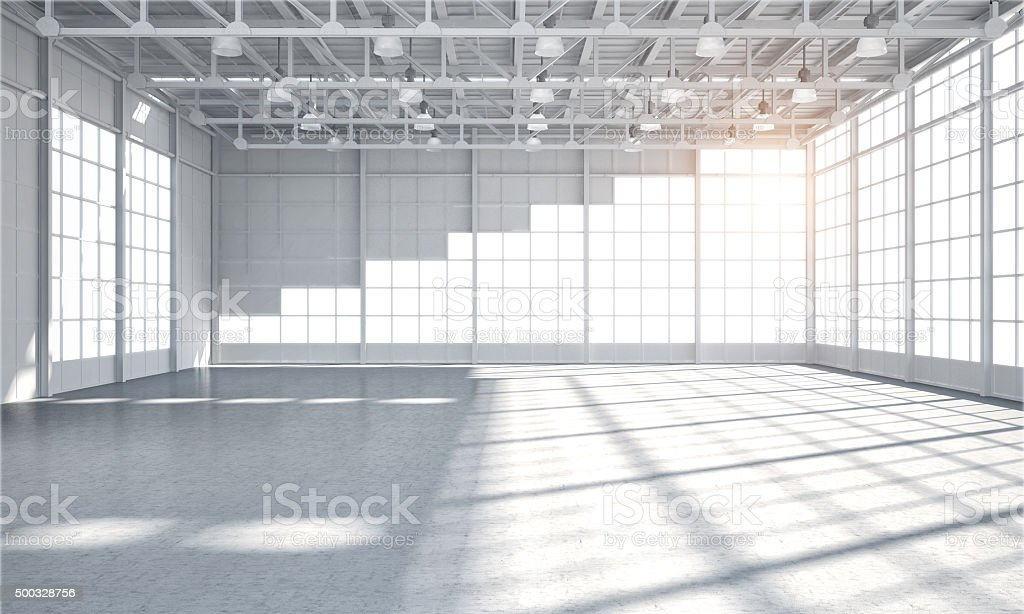 Empty warehouse showroom stock photo