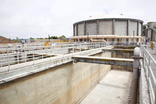 Empty Wastewater Aeration Basin at a Wastewater Treatment Plant stock photo