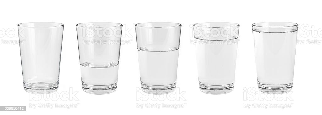 Empty water glass and one glass of water stock photo