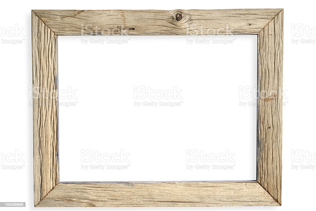 Empty weathered wooden picture frame royalty-free stock photo