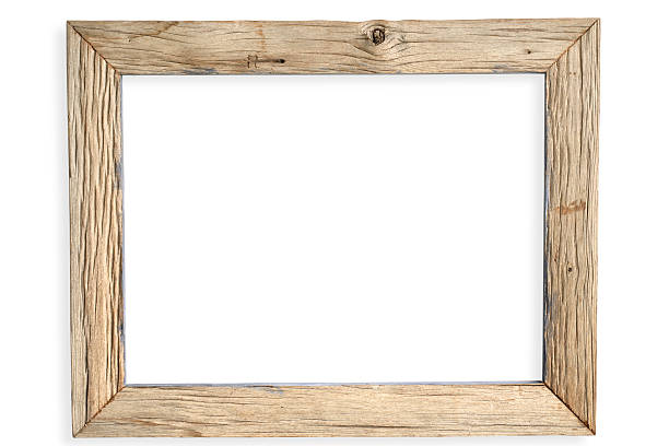 Empty weathered wooden picture frame stock photo