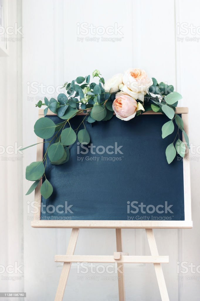 Lege Bruiloft Schoolbord Teken Maquette Scene Floral Garland