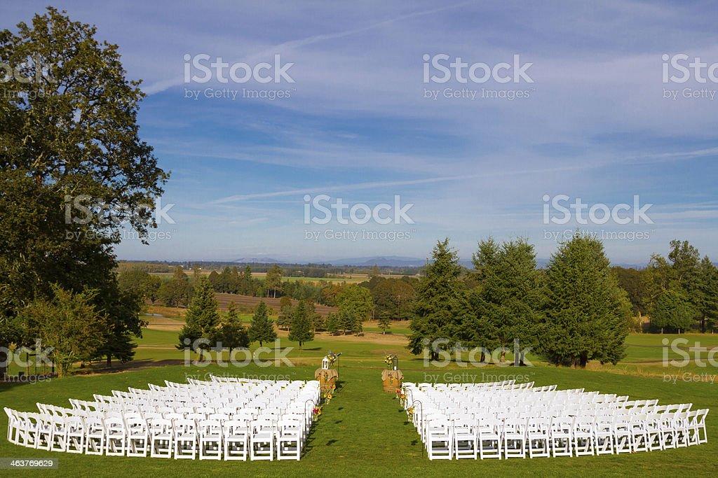 Empty Wedding Venue Seating stock photo