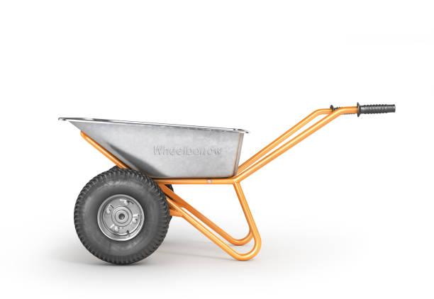 lege kruiwagen op een witte achtergrond. 3d illustratie - kruiwagen met gereedschap stockfoto's en -beelden