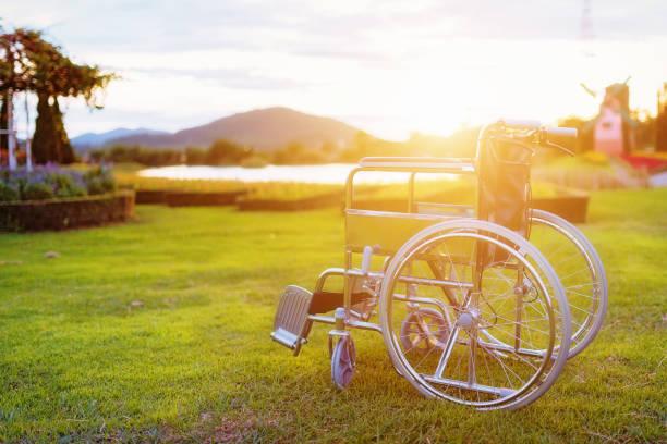 Empty wheelchair. stock photo