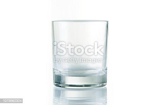 Empty whiskey glass on white background