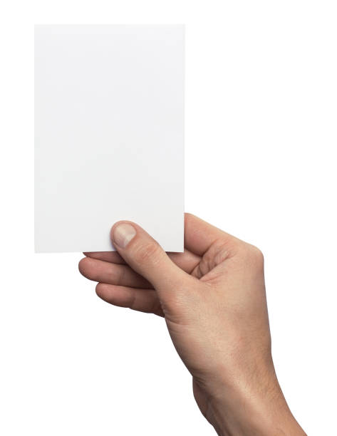 empty white a6 postcard vertically. man holding a template isolated in his hand - postcard template stock photos and pictures