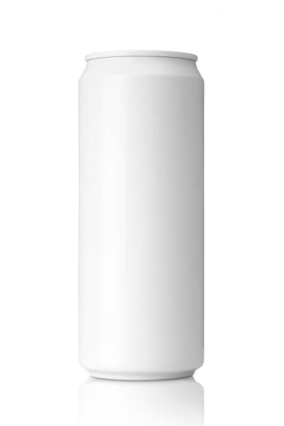 Empty white aluminum can with beverage on white background. Empty white aluminum can with beverage on white background with clipping path, Mockup for design. can stock pictures, royalty-free photos & images