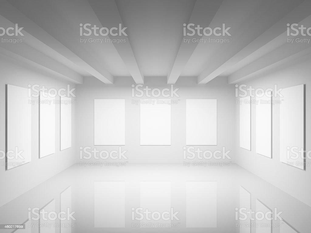 Empty white art gallery hall interior. 3d illustration stock photo