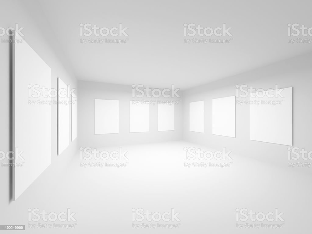 Empty white art gallery hall interior. Abstract 3d illustration stock photo