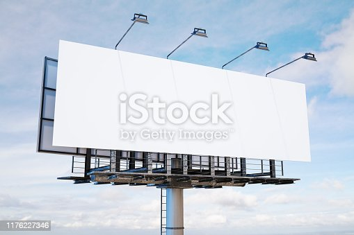 Empty white banner on city sky background. Commercial and advertising industry concept. Mock up, 3D Rendering