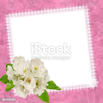 Empty white blank with apple flowerstemplate for greeting cards empty white blank with apple flowerstemplate for greeting cards stock photo more pictures of anniversary istock m4hsunfo