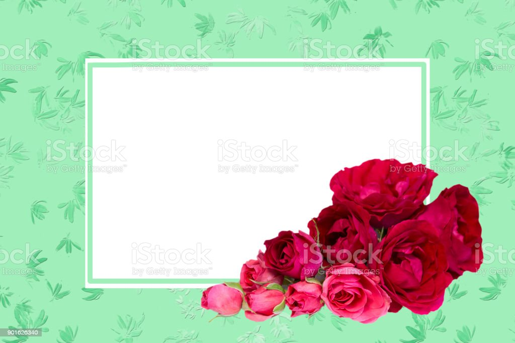 Empty White Blank With Rose FlowersTemplate For Greeting Cards