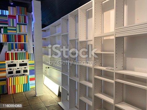 istock Empty white books shelves 1160554363