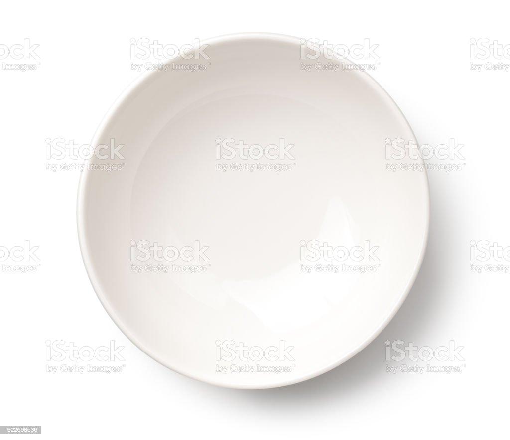 Empty White Bowl Isolated on White Background stock photo