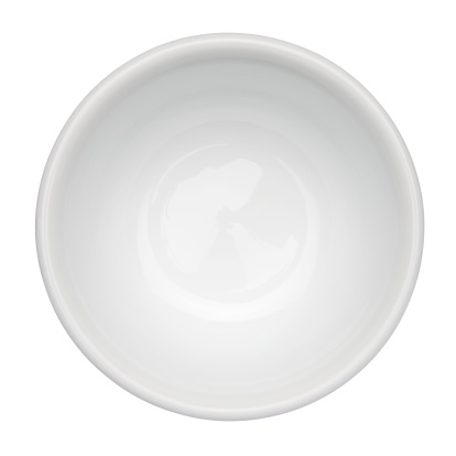 Empty White Bowl Up Against White Background 照片檔及更多 一個物體 照片