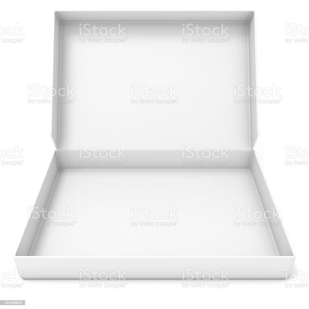 Empty white box. Front view. 3D render stock photo
