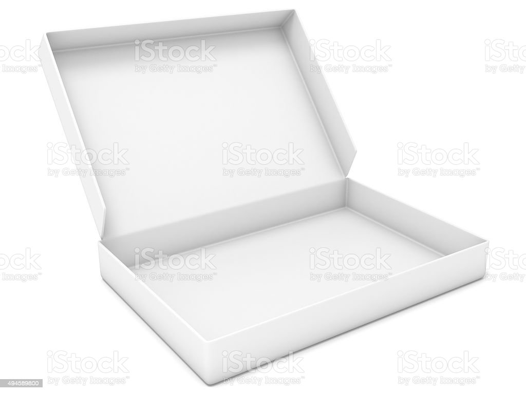 Empty white box. Side view. 3D render stock photo
