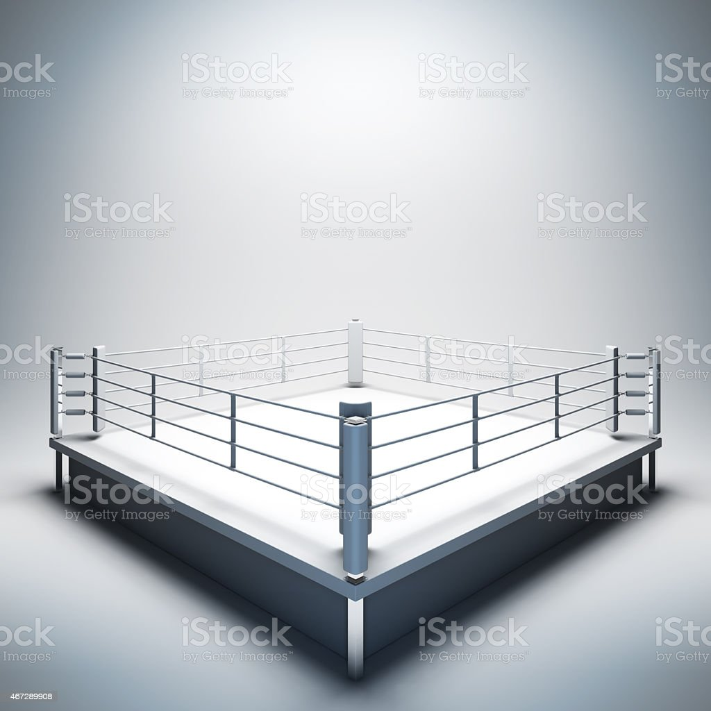 Empty white boxing ring. stock photo