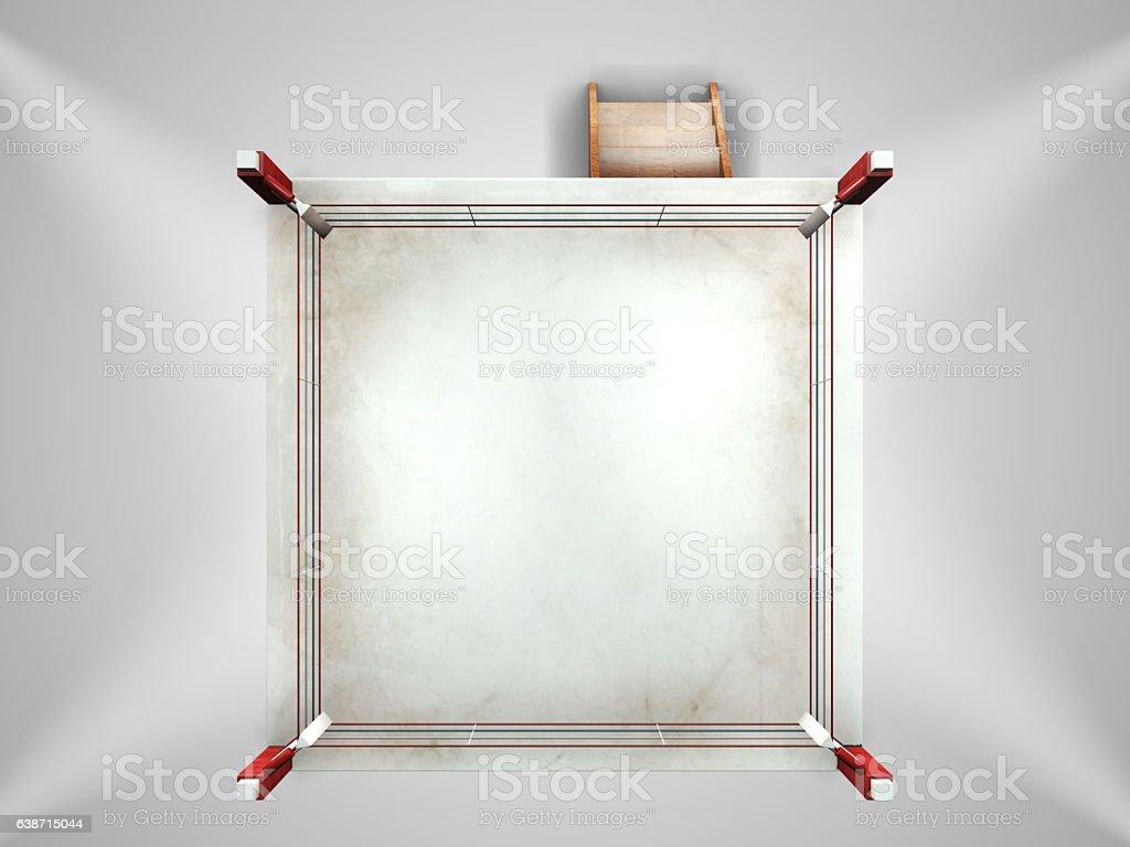 Empty white boxing ring stock photo
