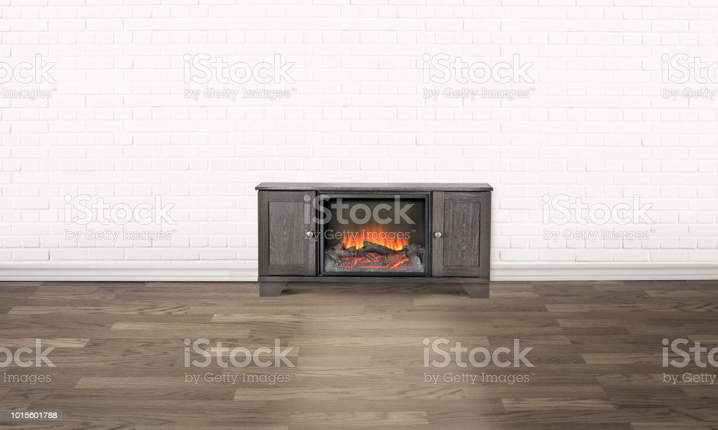 Empty White Brick Wall Room With A Fireplace In The Centre Stock
