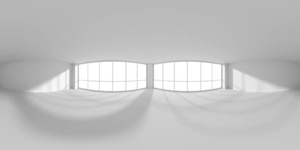 sala de oficina de negocios blanca vacía con luz solar desde el mapa hdri de windows - 360 fotografías e imágenes de stock