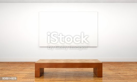 Empty customizable blank canvas hanging on a wall inside a private space or museum gallery, with a wooden bench in front of it. Bright illumination with white walls and brown parquet floor. Unframed canvas can be customized with any image that fits inside its borders. Front view. Digitally generated image.
